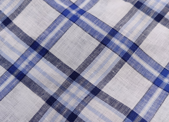Blue Check Irish Linen