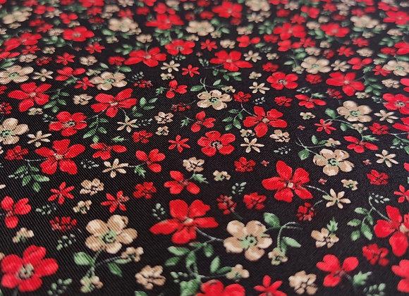 Red Floral Viscose Belmando Twill