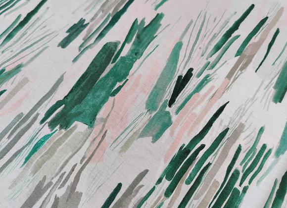 Green Watercolour Swipe Viscose Jersey
