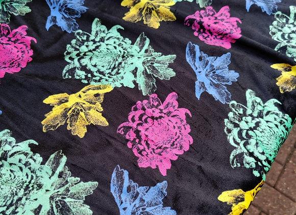 Large Floral Cotton Velvet - 3.25 metre piece