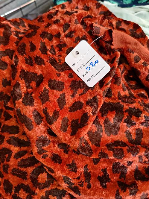 Rust Leopard Velvet - 0.8m