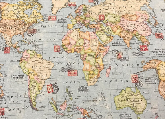 World Map - 100% Cotton - Calico