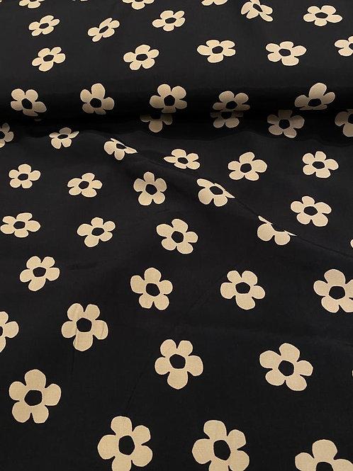 Beige/Black Floral Viscose