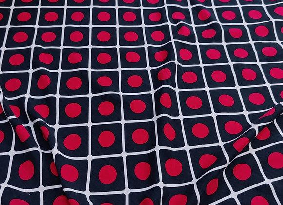 Red Panel Polka Viscose Challis