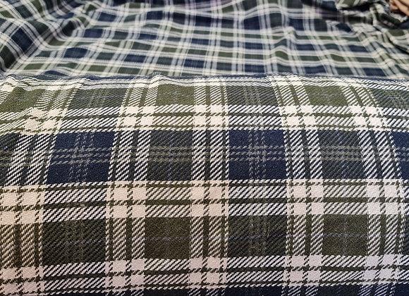 Khaki/Blue Checked Tartan Cotton Wool