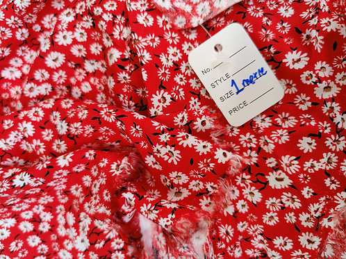 Red Daisy Floral Viscose - 1 metre
