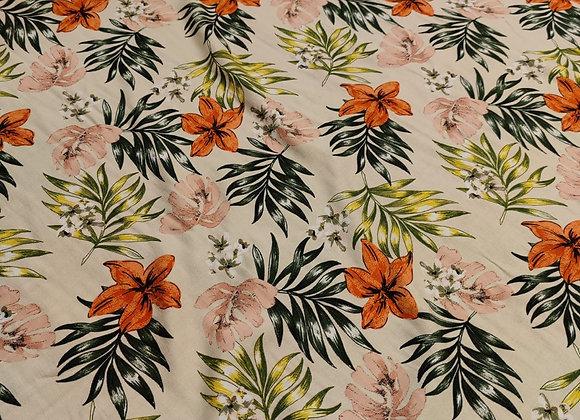 Blush/Orange Floral Viscose Challis