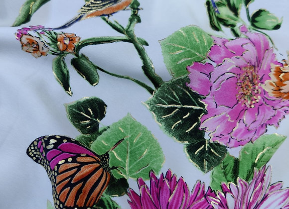 Ivory Butterfly Bird Peachskin - 3 metre piece