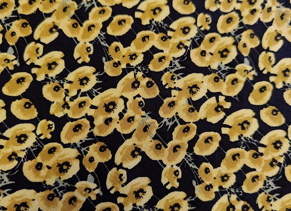 Yellow/Gold Poppy Viscose Challis