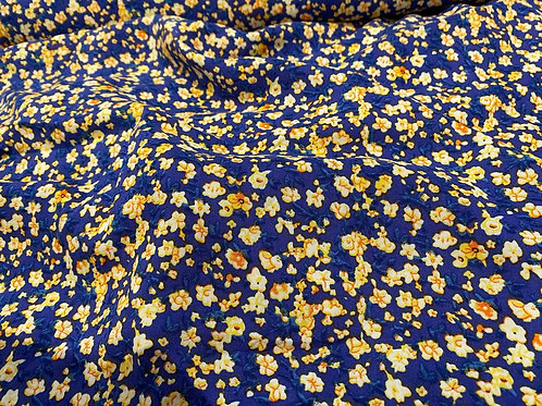 Yellow/Blue Small Flower Viscose