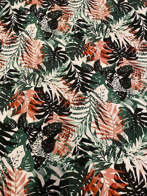 Blush/Green Palm Leaves Viscose