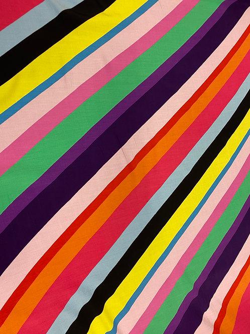 Multicolour Diagonal Striped Crepe Viscose