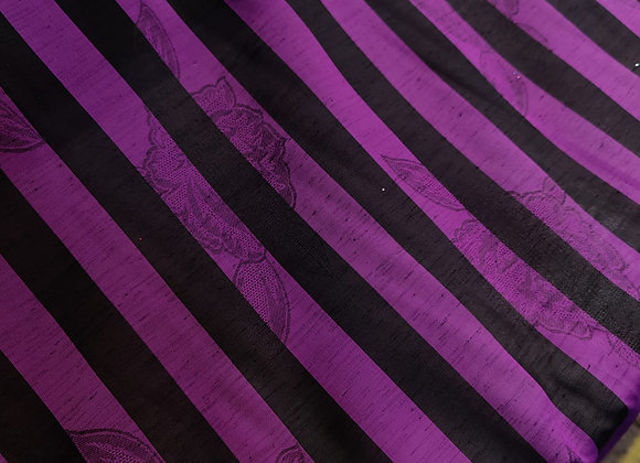 Purple Striped Poly Organza - 3 Metre Pieces