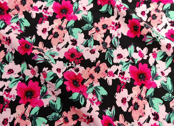 Pink Bloom Floral Viscose Challis