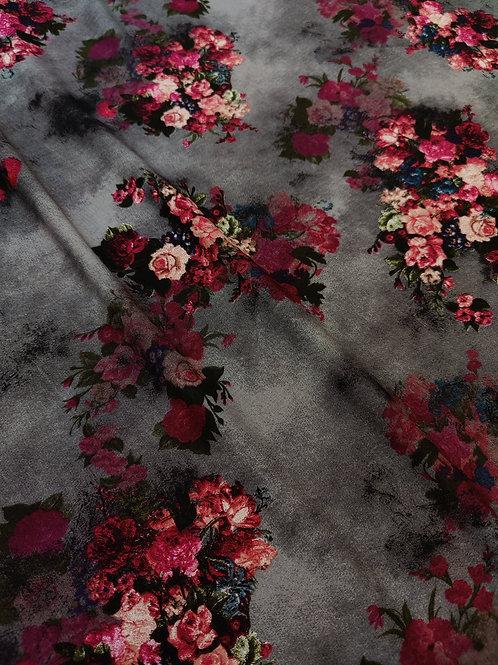 Dark Grey Floral Viscose
