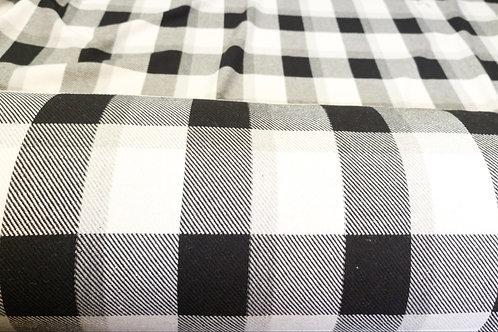 Black/White Checked Tartan Cotton Wool