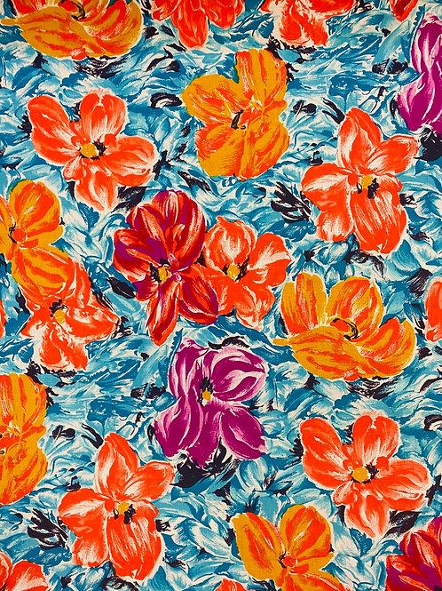 Blue Floral Watercolour 100% Cotton