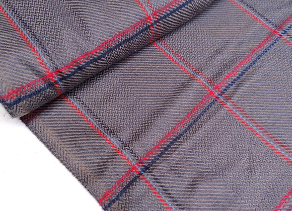 Grey/Red Check wool