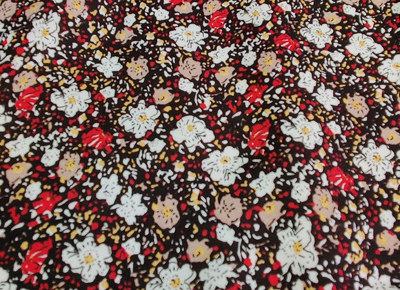 Red/White Floral Party Viscose