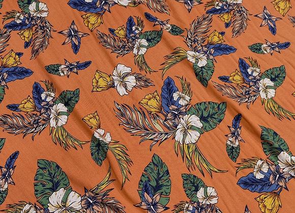 Orange Blush Floral Viscose Challis