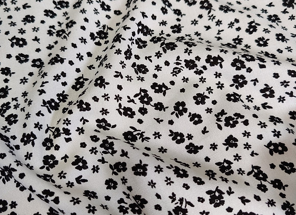 Black/White Small Flower Viscose