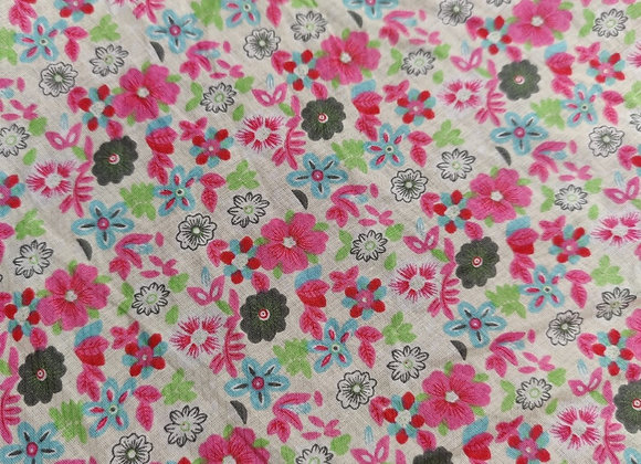 Pink Floral Lightweight 100% Cotton