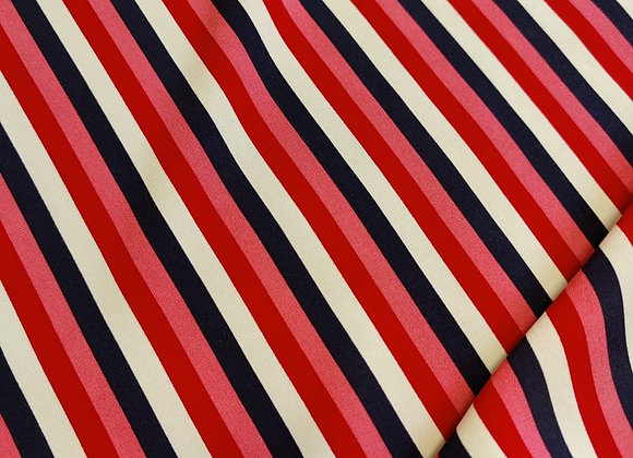 Pink/Red/Navy Stripe Poly Viscose Marrocaine