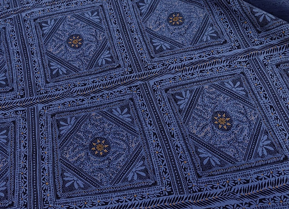Indigo Blue Panel Viscose Marocaine