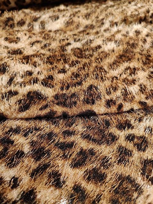 Brown  Cheetah Print Eyelash Fabric