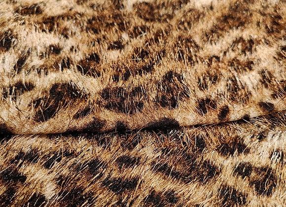 Brown Cheetah Print Eyelash Fabric - 3 metre piece