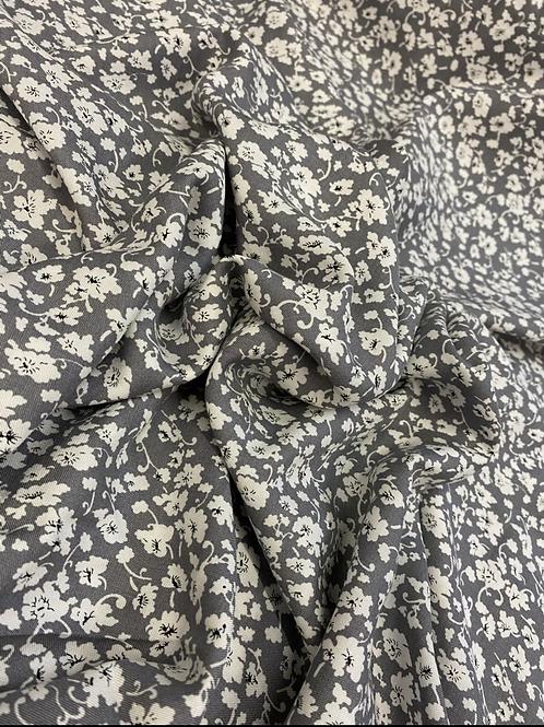 Grey Floral Viscose