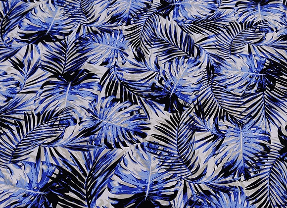 Blue Palm Viscose Challis