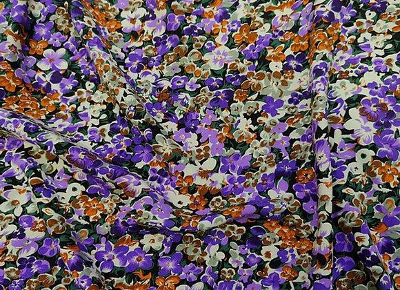 Purple/Rust Floral Cotton Poplin - 3 metre piece