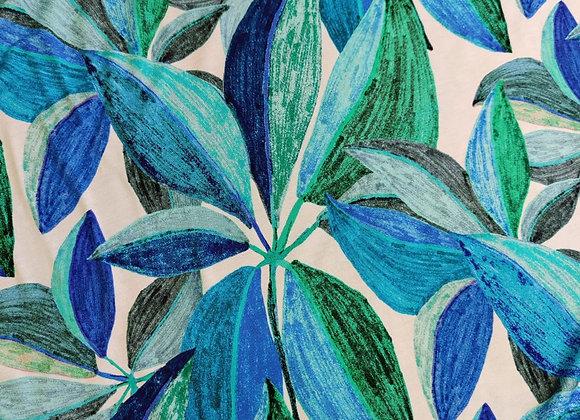 Green/Blue Leaves Sketch Viscose Jersey - 0.95 metre piece