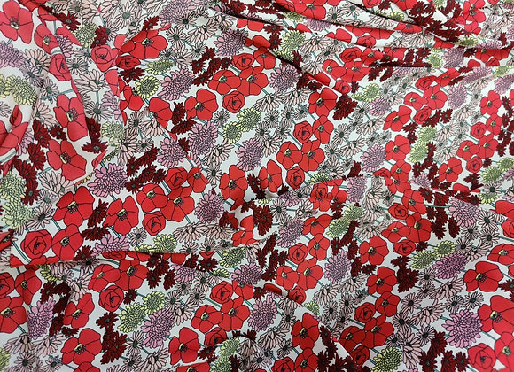 Red Mix Floral Viscose Crepe