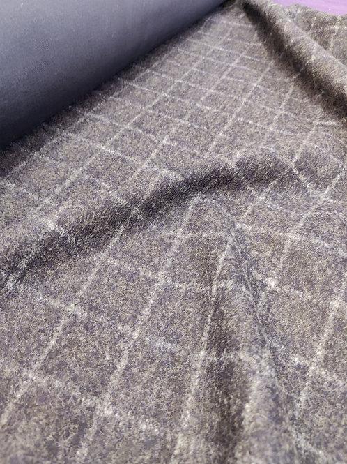 Navy Checked Scuba Backed Wool