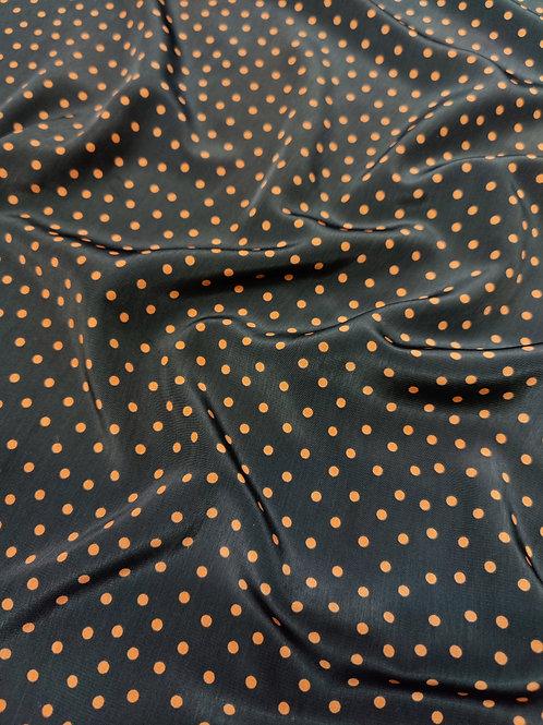 Black / Rust polka Peachskin