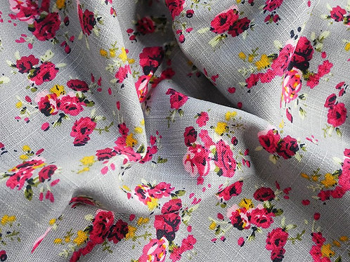 Grey / Pink Floral Linen Viscose
