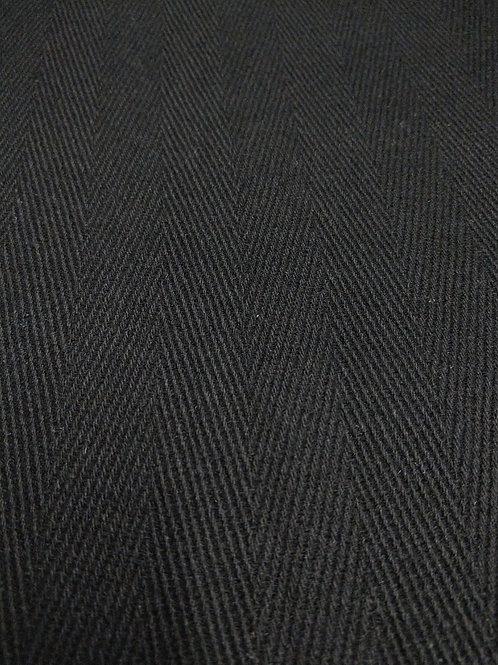 Black Herringbone 100% Wool