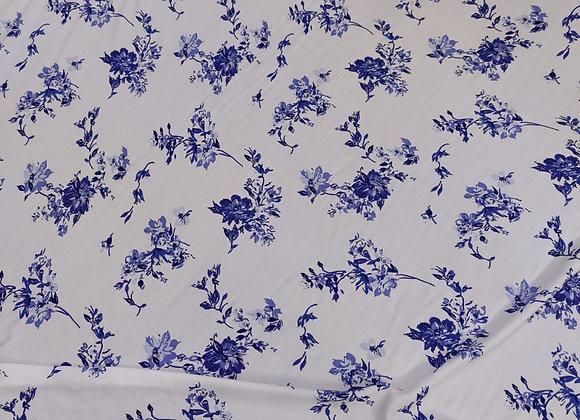 Blue/Ivory Floral Viscose Challis