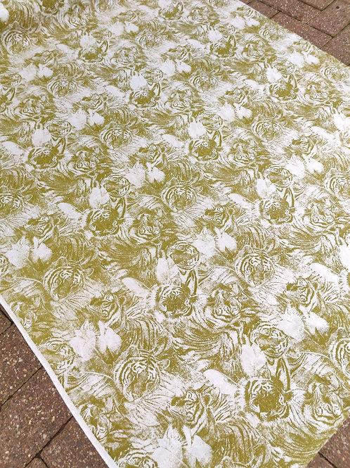 Seaweed Green tiger Print 100% Cotton