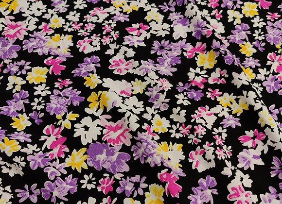 Purple/Pink Floral Viscose Challis