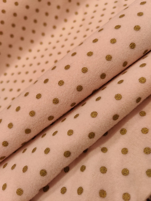 Blush / Gold Polka Dot Fleece Wool