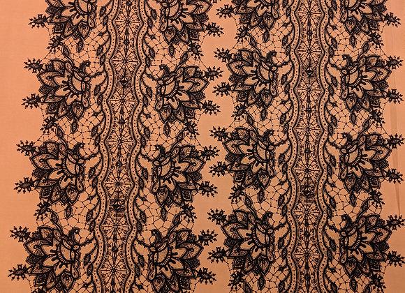 Orange and Black Patterned Poly Jersey