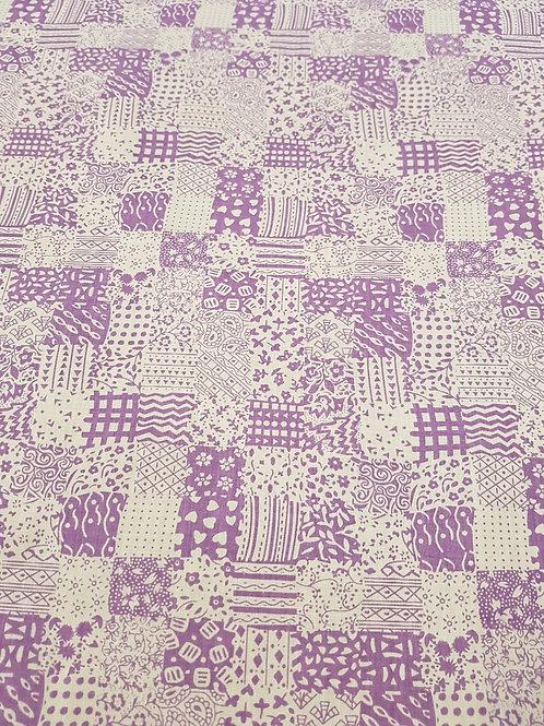 Purple Squares PolyCotton