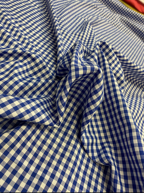 Blue Gingham Small Print Polyester