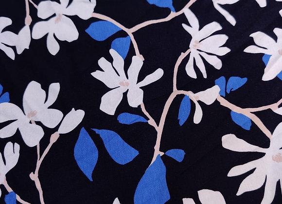 Navy Floral Viscose Jersey - 2.60m piece