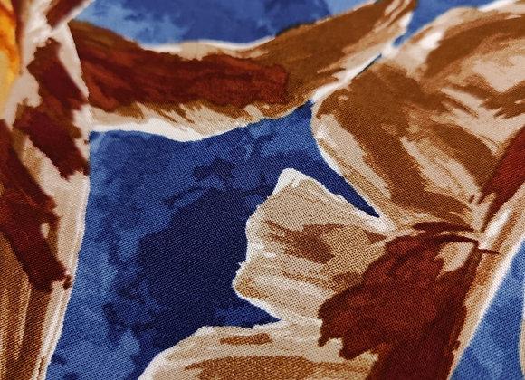 Brown/Navy Leaf Viscose