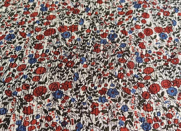 Blue/Rust Stripe Floral Viscose