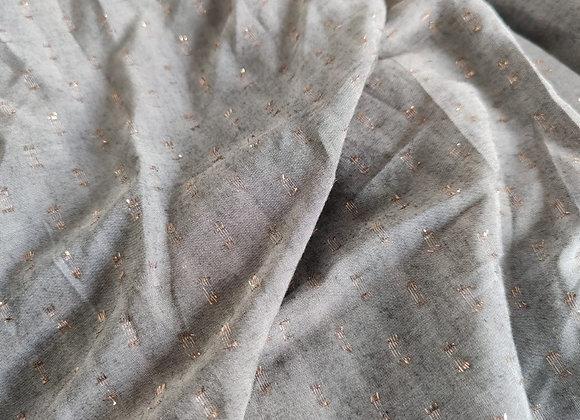 Grey/Rose Gold Lurex Viscose